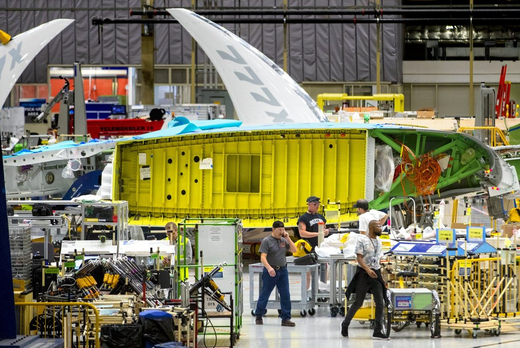 A view of the new Boeing 777X wing from the interface with the fuselage in the foreground and the folded wingtip at the far end. The first 777X will fly in 2019. (Mike Siegel / The Seattle Times)