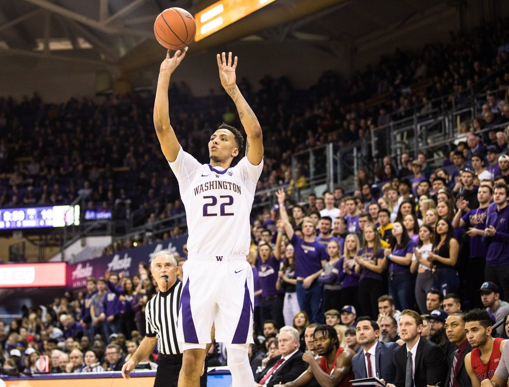 Washington's Dominic Green takes a shot against Seattle U. (Rebekah Welch / The Seattle Times)