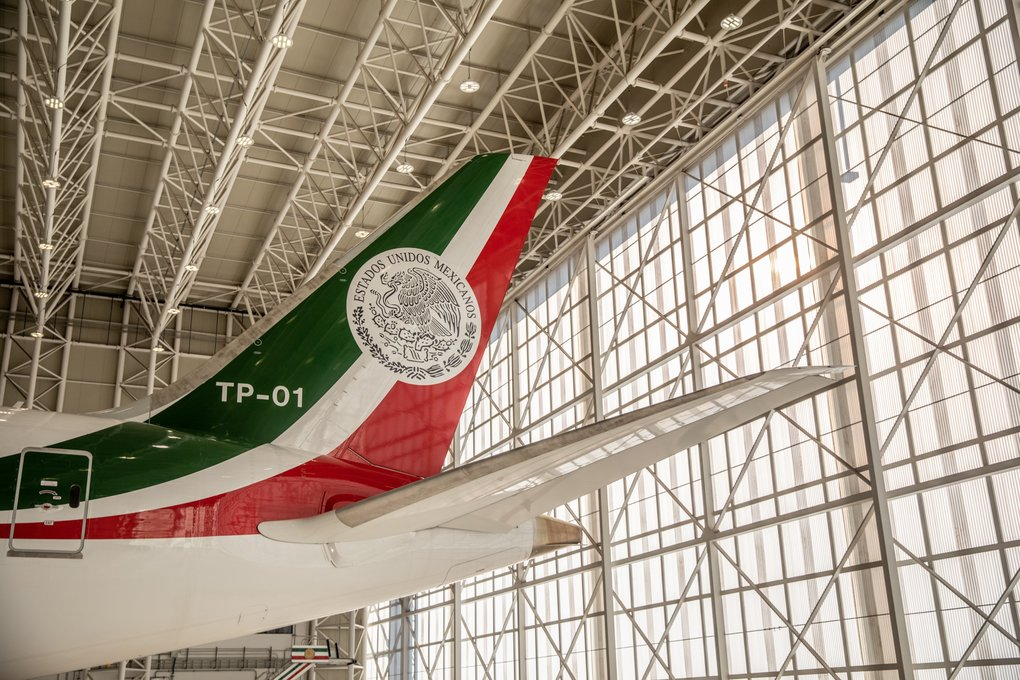 The tail fin featuring the Mexican national emblem identifies the jet that transported former President Enrique Pena Nieto since 2016. (Alejandro Cegarra / Bloomberg)