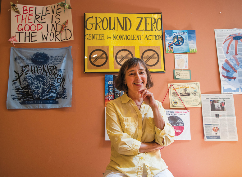 Ground Zero Center for Nonviolent Action's lone on-site resident at the group's complex abutting the Navy submarine base at Bangor is Elizabeth Murray, a former CIA analyst. (Mike Siegel / The Seattle Times)