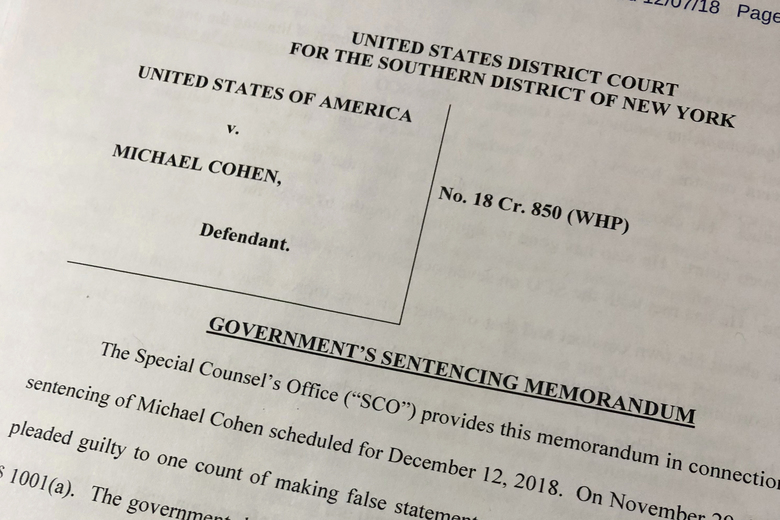 A portion of a court filing by prosecutors from the special counsel's office released Friday, Dec. 7, 2018, laid out for the first time details of Cohen's cooperation with investigators and took positions on the punishment he should face. (AP Photo/Wayne Partlow)