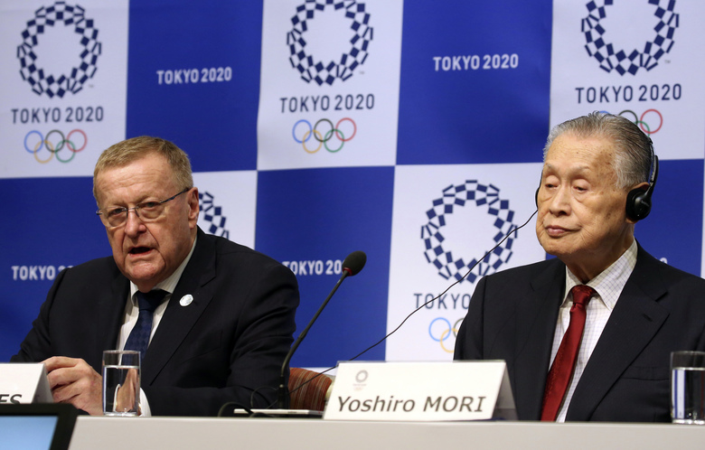 "Head of the IOC inspection team John Coates, left, speaks as Tokyo 2020 President Yoshiro Mori listens during a press conference in Tokyo, Wednesday, Dec. 5, 2018. IOC President Thomas Bach has said no city has been ""as ready as Tokyo"" to hold the Olympics. Bach and other International Olympic Committee are calling Tokyo the best prepared in recent memory with the games just 20 months away. (AP Photo/Koji Sasahara)"