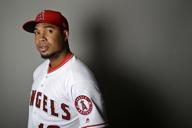 FILE – This is a 2017 file photo showing Luis Valbuena of the Los Angeles Angels baseball team. Former Major League Baseball players Luis Valbuena and Jose Castillo have been killed in a car crash in Venezuela. MLB tweeted late Thursday, Dec. 6, 2018, the 33-year-old Valbuena and 37-year-old Castillo died. Both were playing for Cardenales de Lara in the Venezuelan league. (AP Photo/Chris Carlson, File)