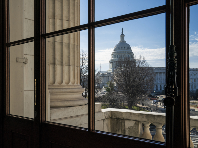 The Capitol Dome is seen from the Russell Senate Office Building in Washington, Thursday, Dec. 27, 2018, during a partial government shutdown.  Chances look slim for ending the partial government shutdown any time soon. Lawmakers are away from Washington for the holidays and have been told they will get 24 hours' notice before having to return for a vote. (AP Photo/J. Scott Applewhite)
