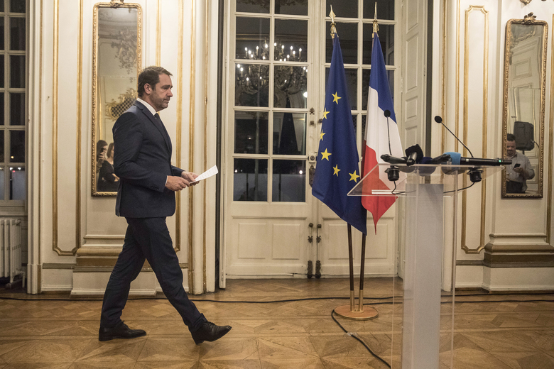 France's Interior Minister Christophe Castaner, prepares to hold a press conference in Strasbourg, eastern France, Tuesday, Dec. 11, 2018. A shooting in the French city of Strasbourg killed at least two people and wounded more than others, officials said, sparking a broad lockdown and major security operation around a world-famous Christmas market. Authorities said the shooter remains at large. (AP Photo/Jean-Francois Badias)