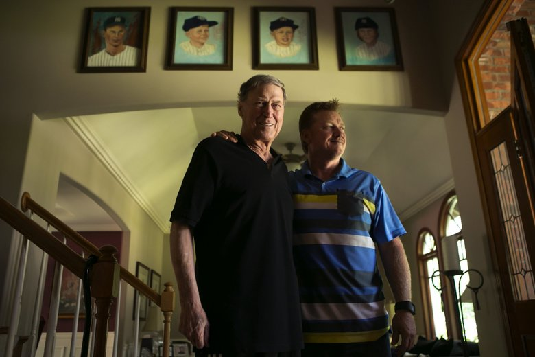 Mel Stottlemyre Sr. and son Mel Stottlemyre Jr. at their family home in Sammamish in 2016. Stottlemyre Sr. was a former Yankees pitcher in the 1960s and a pitching coach for many years after. His son Mel Jr. followed him into a career in baseball. (Bettina Hansen / The Seattle Times)