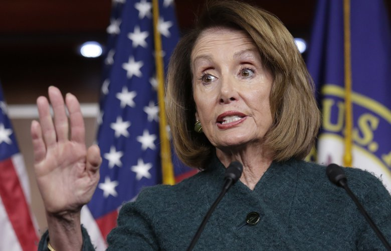 In this Jan. 10, 2019 photo, Speaker of the House Nancy Pelosi, D-Calif., meets with reporters in her first formal news conference, on Capitol Hill in Washington.   Pelosi has asked President Donald Trump to postpone his State of the Union address to the nation, set for Jan. 29, until the government reopens.  (AP Photo/J. Scott Applewhite) WX102 WX102