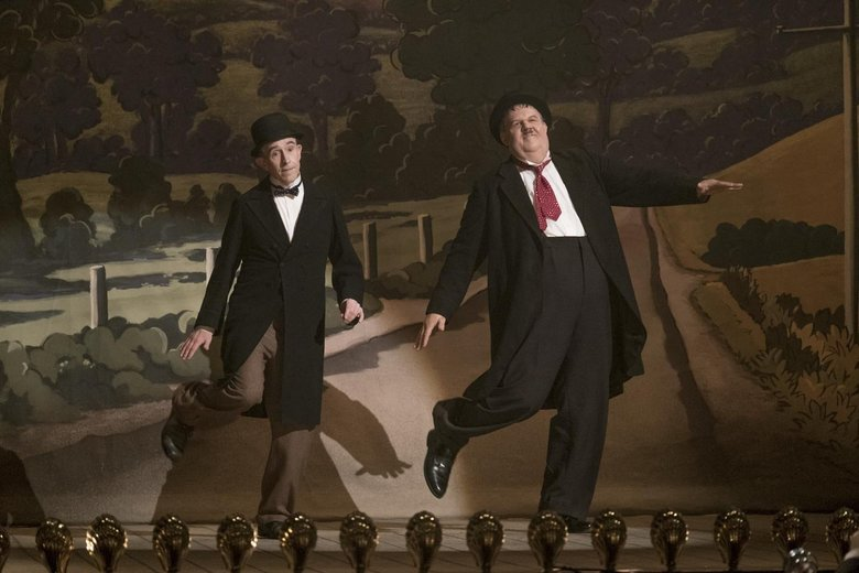 "Steve Coogan, left, as Stan Laurel and John C. Reilly as Oliver Hardy in ""Stan & Ollie.""  (Nick Wall / Sony Pictures Classics)"