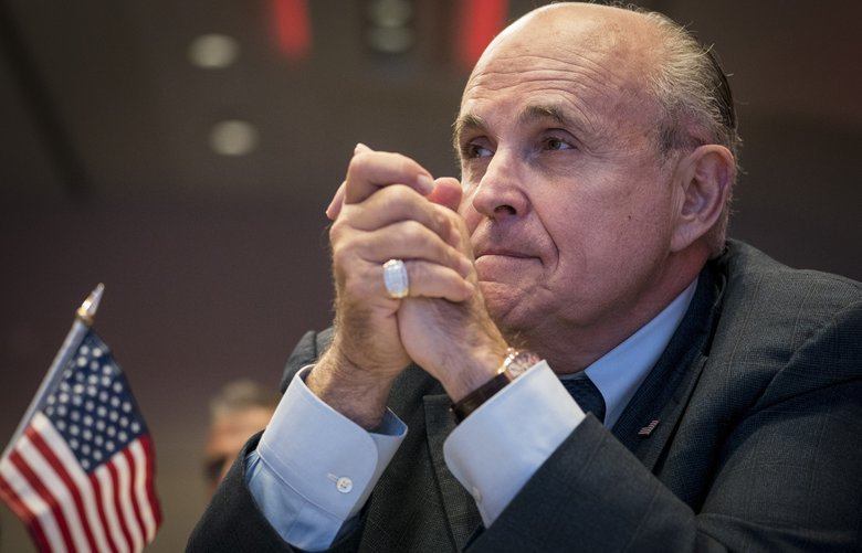 FILE — Rudy Giuliani, President Donald Trump's personal lawyer, at an event in Washington, May 5, 2018. Giuliani said Jan. 20 that the president recalled that his discussions with Michael Cohen, his former lawyer and fixer, about building a Trump Tower in Moscow lasted through the November 2016 election, months longer than previously confirmed. (Erin Schaff/The New York Times)    XNYT15 XNYT15