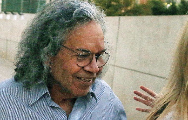 FILE – In this Oct. 26, 2017 file photo, Insys Therapeutics founder John Kapoor leaves U.S. District Court in Phoenix. Opening statements are expected in Boston's federal court Monday, Jan. 28, 2019, in the case of Kapoor and four other former employees of the Chandler, Arizona-based company. (AP Photo/Ross D. Franklin, File) NYJK104 NYJK104