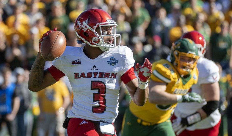 Eastern Washington quarterback Eric Barriere  looks to pass against North Dakota State during the first half of the FCS championship Saturday in Frisco, Texas. (Jeffrey McWhorter / The Associated Press)