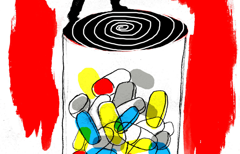 This artwork by Mark Weber refers to the rise of drug deaths linked to opiod addiction.