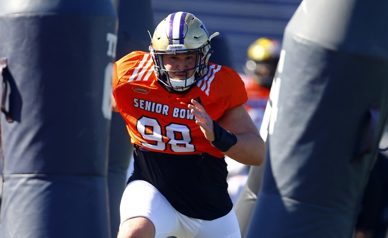 North defensive tackle Greg Gaines of Washington (98) runs drills during practice for Saturday's Senior Bowl college football game, Thursday, Jan. 24, 2019, in Mobile, Ala. (AP Photo/Butch Dill)