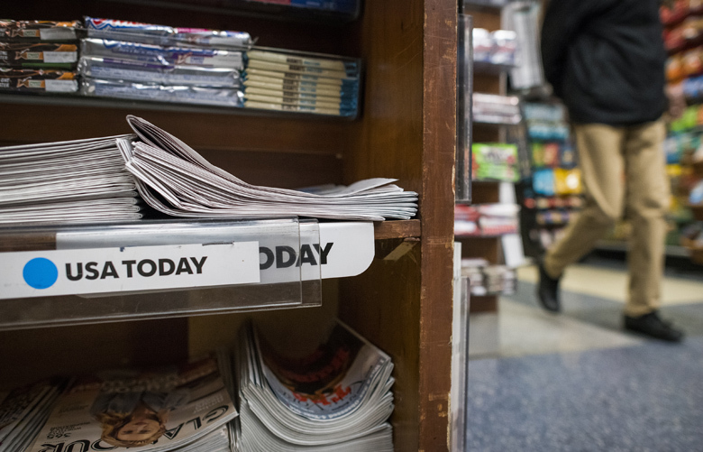 A stack of USA Today newspapers on a newsstand in New York, Jan. 14, 2019. The newspaper chain MNG Enterprises, backed by the hedge fund Alden Global Capital, is seeking to acquire Gannett, the publisher of USA Today and 100 other newspapers. (Joshua Bright/The New York Times)