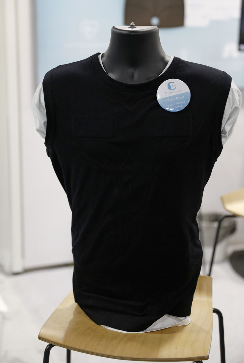 The Chronolife connected vest is on display at the Chronolife booth at CES International, Wednesday, Jan. 9, 2019, in Las Vegas. (AP Photo/John Locher)