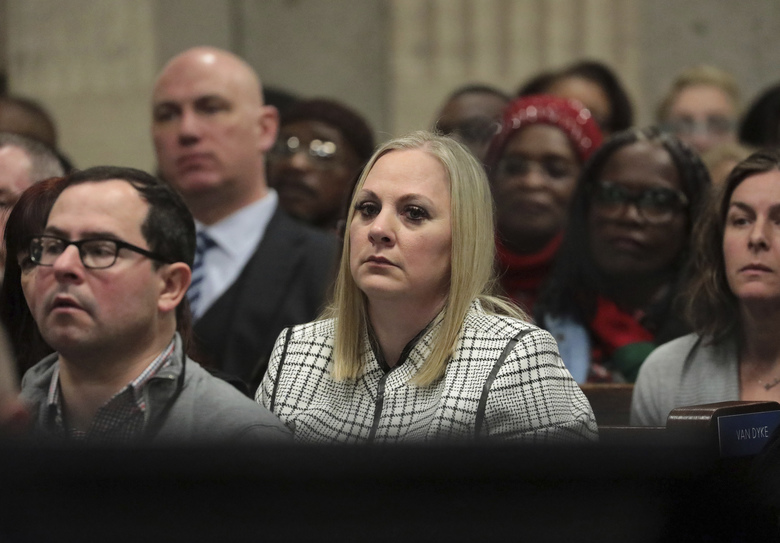 Tiffany Van Dyke wife of former Chicago police Officer Jason Van Dyke attends his sentencing hearing at the Leighton Criminal Court Building, Friday, Jan. 18, 2019, in Chicago, for the 2014 shooting of Laquan McDonald. (Antonio Perez/Chicago Tribune via AP, Pool)