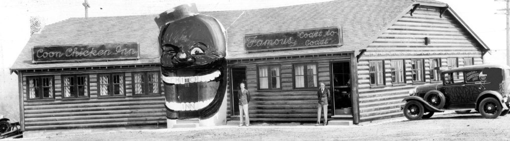With its 12-foot-high entrance in the shape of a grinning, minstrel-inspired face, the Coon Chicken Inn in North Seattle offers historical evidence that white supremacy, brute racism, cultural obliviousness and problematic imagery migrated to progressive Seattle right along with transplants from other places. (Seattle Times Archives)