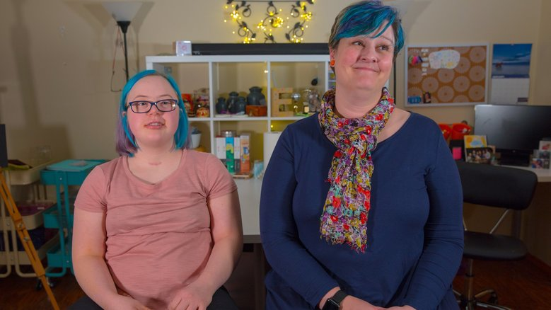 Emma Patterson, left, and her mother, Amy Patterson, are using a new state savings program for the disabled to help Emma save for college. (Photo courtesy Washington state ABLE Savings Program)