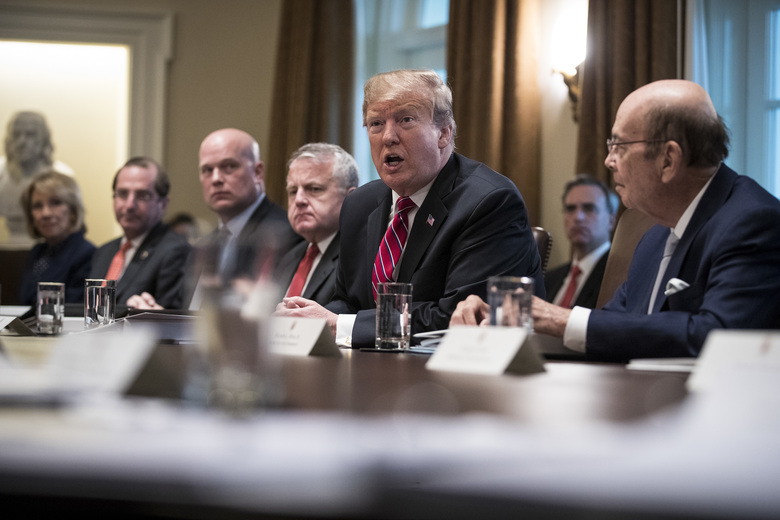 President Donald Trump leads a cabinet meeting in the Cabinet Room of the White House in Washington, Feb. 12, 2019. Trump said on Tuesday that he would consider delaying a March 2 deadline to reach a trade deal with China, saying the United States might not impose higher tariffs on Chinese goods if talks with Beijing are going well. (Sarah Silbiger/The New York Times)