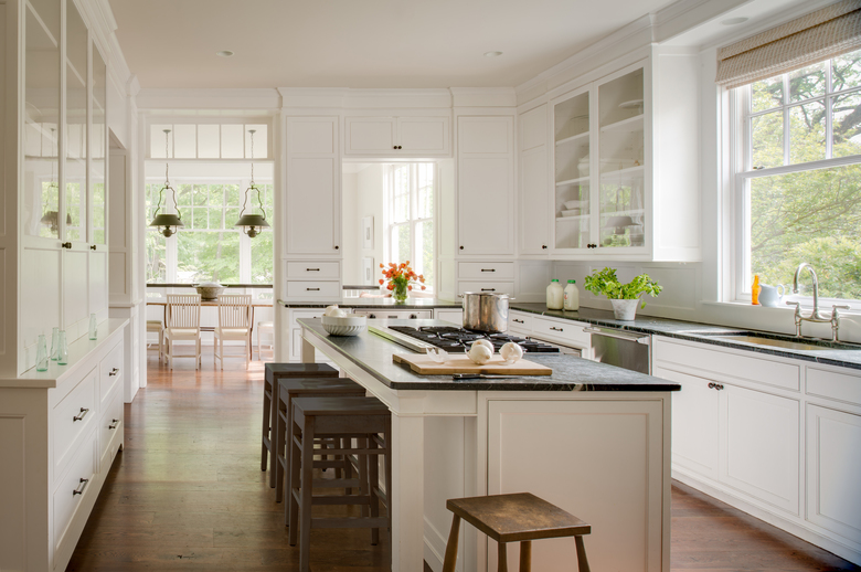 A Washington, D.C., kitchen got wood floors during a renovation by Donald Lococo Architects and designer Darryl Carter. (John Cole Photography).