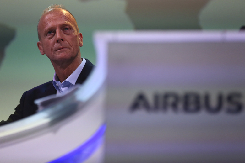 Airbus CEO Tom Enders speaks before the presentation of Airbus 2018 results in Toulouse, southern France on  Thursday. (AP Photo/Fred Scheiber)