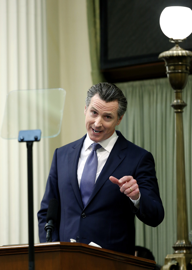 California Gov. Gavin Newsom delivers his first state of the state address to a joint session of the legislature at the Capitol Tuesday, Feb. 12, 2019, in Sacramento, Calif. (AP Photo/Rich Pedroncelli)