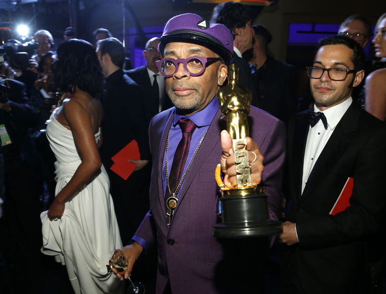 "Spike Lee, winner of the award for best adapted screenplay for ""BlacKkKlansman"", attends the Governors Ball after the Oscars on Sunday, Feb. 24, 2019, at the Dolby Theatre in Los Angeles. (Photo by Eric Jamison/Invision/AP)"