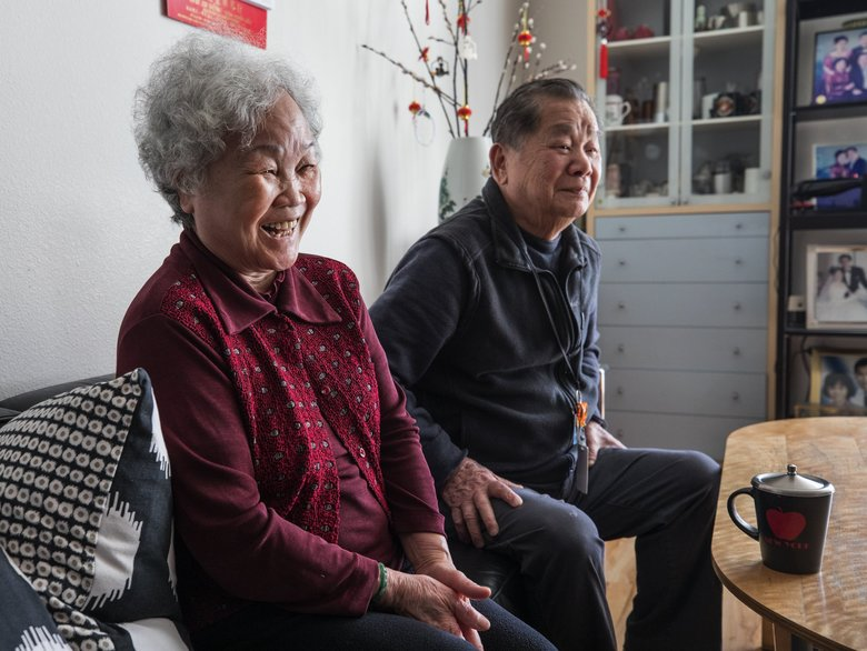 Kang Lin Liu Chong, 79, and her husband, Kin Foh Chong, 83, have lived in an apartment at Hirabayashi Place near the Chinatown International District for about three years. (Steve Ringman / The Seattle Times)