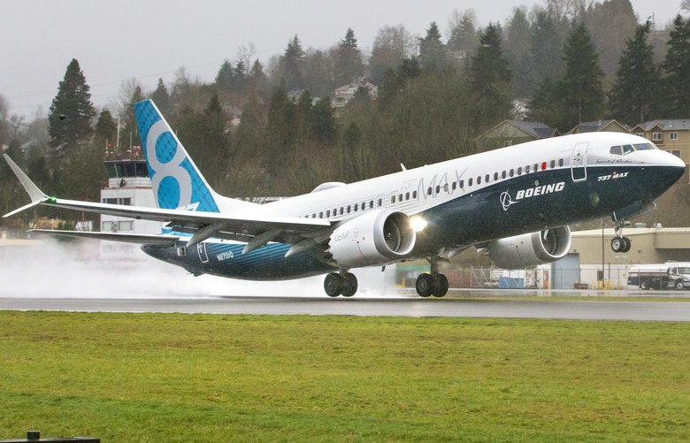 "Just over seven weeks after it rolled out of the paint hangar, Boeing's first 737 MAX ""the Spirit of Renton"" lifts off the runway and flew for the first time Friday, from Renton Municipal Airport at 9:48 a.m. January 29th, 2016."