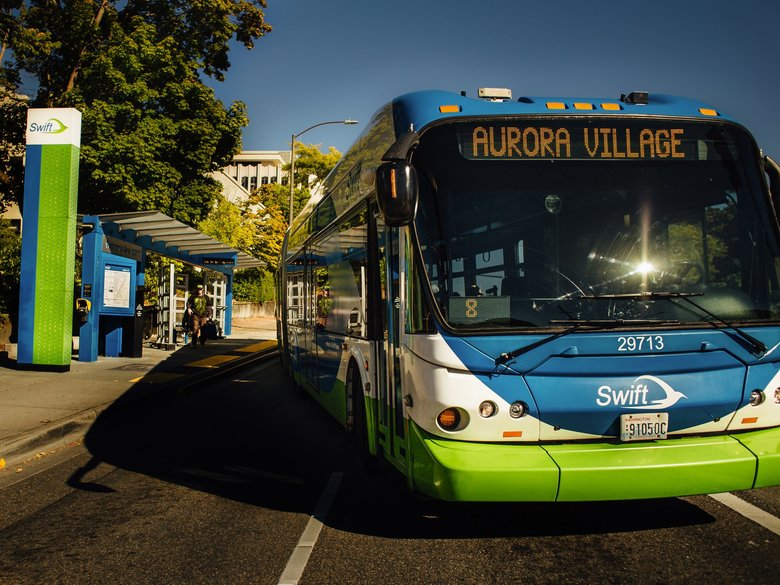 A Swift bus leaves Everett on its way to Aurora Village via Highway 99 in south Snohomish County. A second Swift route called the Green Line will open Sunday between Paine Field and north Bothell.  (Community Transit)