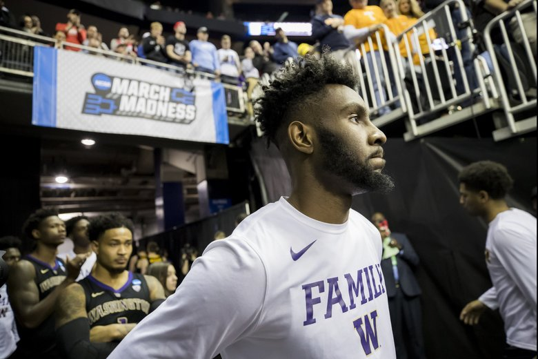 Washington guard Jaylen Nowell waits to take the court before the Washington Huskies take on the North Carolina Tar Heels for round two of the NCAA Tournament at Nationwide Arena Sunday March 24, 2019 in Columbus, Ohio. (Bettina Hansen / The Seattle Times)