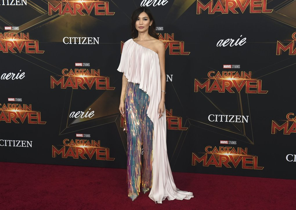 "Gemma Chan arrives at the world premiere of ""Captain Marvel"" on Monday, March 4, 2019, at the El Capitan Theatre in Los Angeles. (Photo by Jordan Strauss/Invision/AP)"