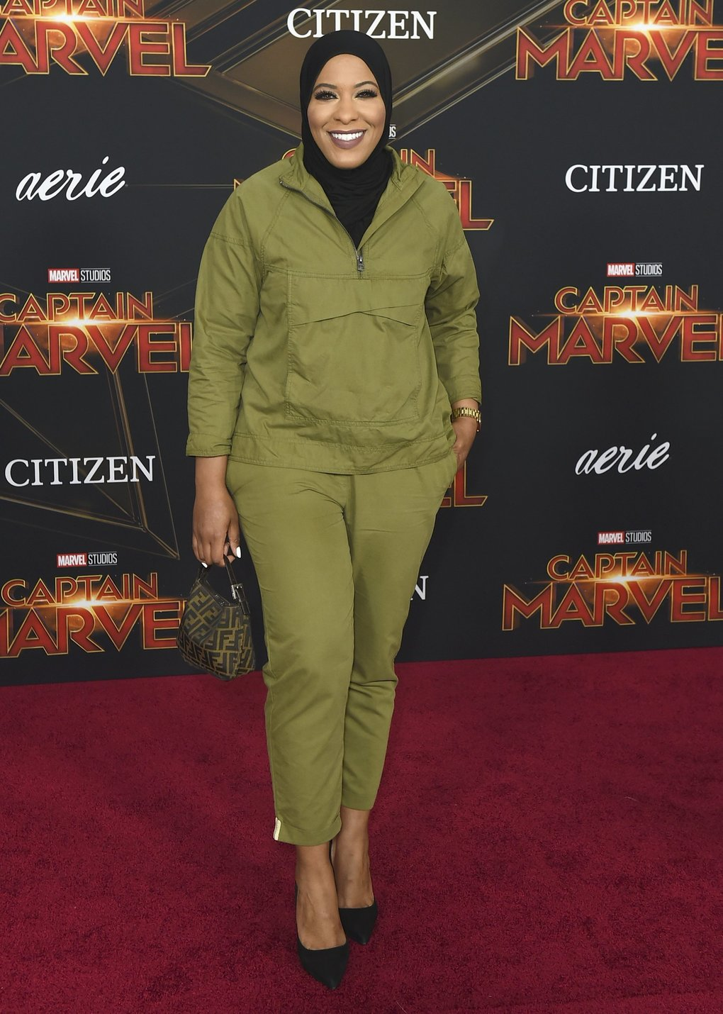 "Fencer Ibtihaj Muhammad arrives at the world premiere of ""Captain Marvel"" on Monday, March 4, 2019, at the El Capitan Theatre in Los Angeles. (Photo by Jordan Strauss/Invision/AP)"