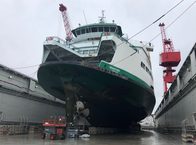 The Wenatchee was damaged by a crab-pot line and is undergoing repairs. The damage was more extensive than anticipated, according to Washington State Ferries, and ongoing repairs are contributing to extended waits for some ferry riders. (Courtesy of Washington State Ferries)