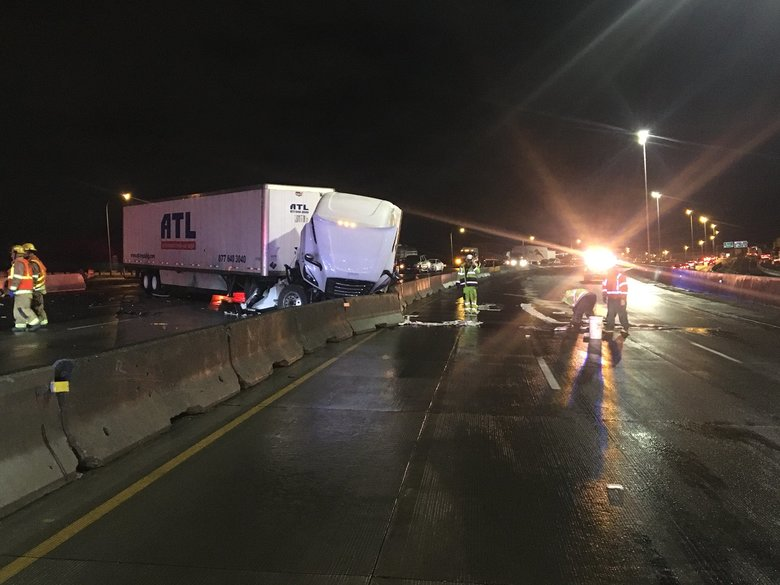 All lanes of Interstate 5 in Tacoma were closed for several hours Tuesday morning after a semi jackknifed at Highway 16. (Washington State Patrol)