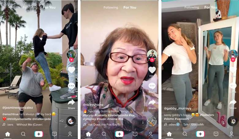 Screenshots from the TikTok app show the variety of quick-hit videos shared by users.