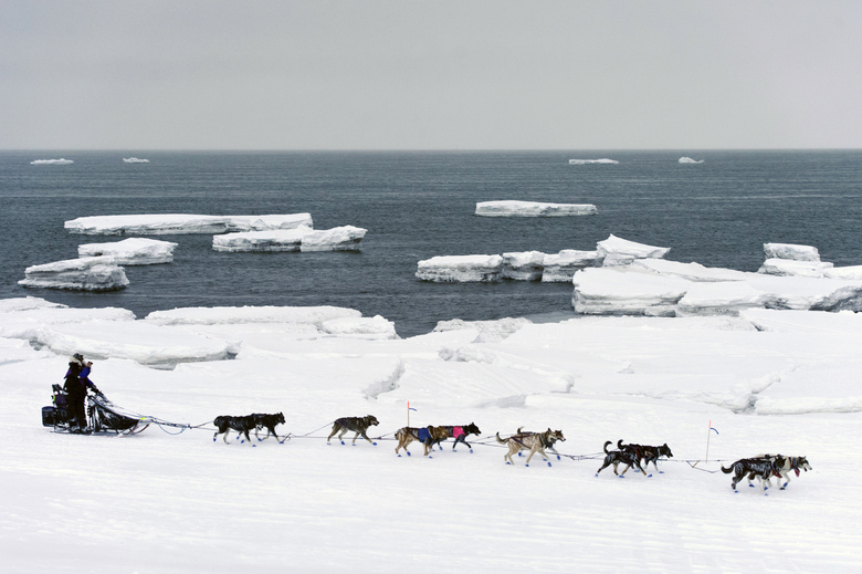 Jessie Royer passes icebergs in open water on Norton Sound as she approaches Nome, Alaska, Wednesday, March 13, 2019, in the Iditarod trail sled dog race. Royer, of Fairbanks, took third place. (Marc Lester/Anchorage Daily News via AP)