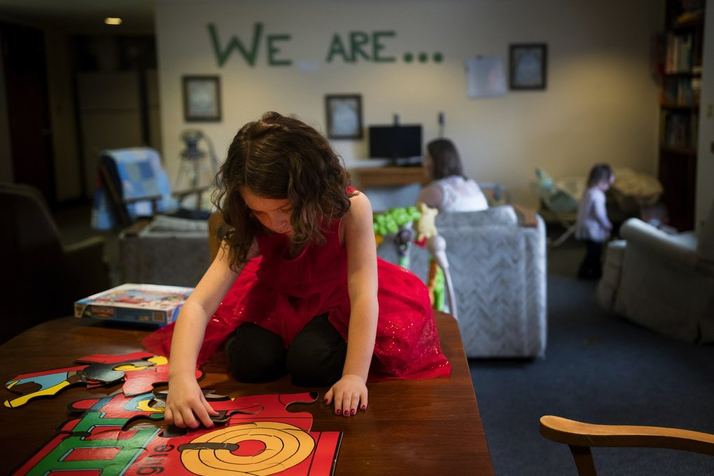 Bracken's children play at the Rising Strong facility, where they lived while she went through drug rehabilitation and parenting classes. (Rajah Bose for The Seattle Times)