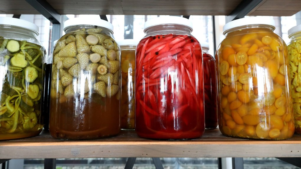 On display at Aerlume are jars of all things pickled, created by executive chef Maggie Trujillo. (Greg Gilbert / The Seattle Times)