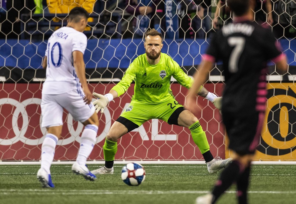 With the score now tied, San Jose's Cristian Espinoza gets Seattle keeper Stefan Frei one-on-one, but Frei gets the save in the 69th minute. (Dean Rutz / The Seattle Times)