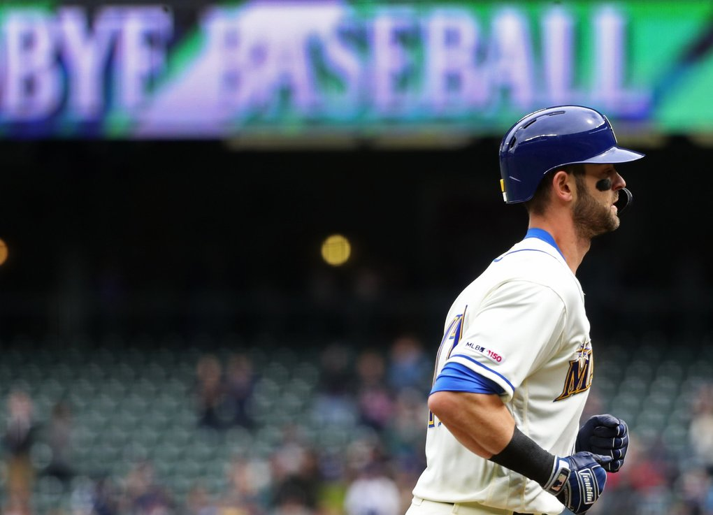 Mariners center fielder Mitch Haniger trots to homeplate after homering in the first inning against the Astros, Sunday, April 14, 2019 at T-Mobile Park in Seattle.(Ken Lambert / The Seattle Times)