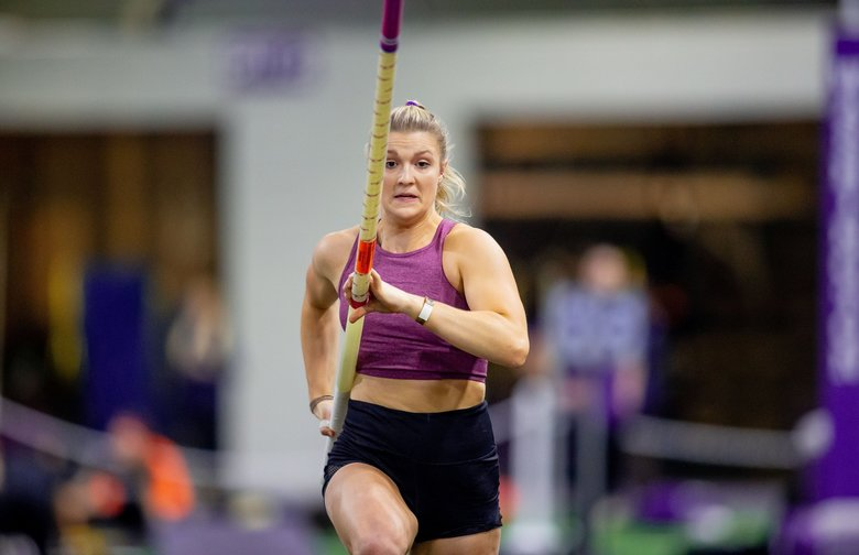 UW pole vaulter Olivia Gruver runs before vaulting in January at the UW Invitational at the Dempsey Center. The height Gruver cleared last Friday at the Stanford Invitational — 15-feet, 6.25-inches — broke the Pac-12 record by more than five inches. (Scott Eklund / Red Box Pictures)