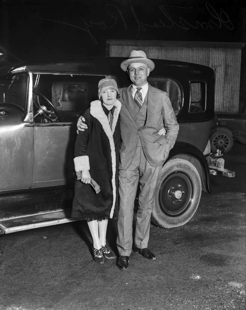 "Seattle's ""Gentleman Bootlegger,"" Roy Olmstead, and his second wife, Elsie, in 1925. They were both charged with violating the National Prohibition Act. Elsie was acquitted, but Roy was convicted in 1927 and sentenced to four years at McNeil Island. He got out in 1931; the couple divorced in 1943. (MOHAI, Seattle Post-Intelligencer Collection)"