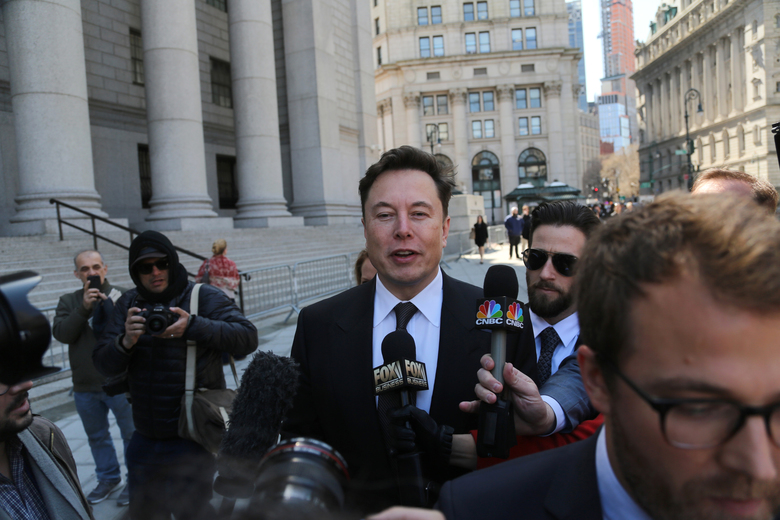 Elon Musk, the Tesla chief executive, arrives at federal court in Manhattan on Thursday, April 4, 2019.  (Jefferson Siegel/The New York Times)