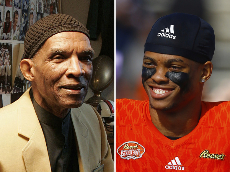 FILE – At left, in an Oct. 2, 2008, file photo, former NFL player Herb Adderley sits in a room full of memorabilia of his playing days with the Green Bay Packers, at his home in Mantua, N.J. At right, in a Jan. 26, 2019, file photo, Delaware safety Nasir Adderley smiles before the start of the Senior Bowl NCAA college football game, in Mobile, Ala. University of Delaware safety Nassir Adderley was in high school when he connected with his grandfather's first cousin, Hall of Fame defensive back Herb Adderley, who sent him videos of his playing days during the Vince Lombardi era in Green Bay. The elder Adderley would become a huge influence in his life as Nassir lost his grandfather, then blossomed into an NFL prospect himself. (AP Photo/File)