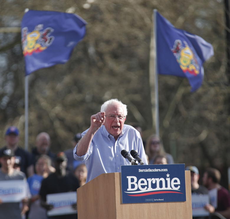 Presidential hopeful, Sen. Bernie Sanders addresses a crowd during a campaign rally, Sunday, April 14, 2019, in Pittsburgh. The Pittsburgh stop was part of a weekend tour of Midwest battleground states, including Wisconsin, Indiana, Ohio and Michigan. (AP Photo/Keith Srakocic)