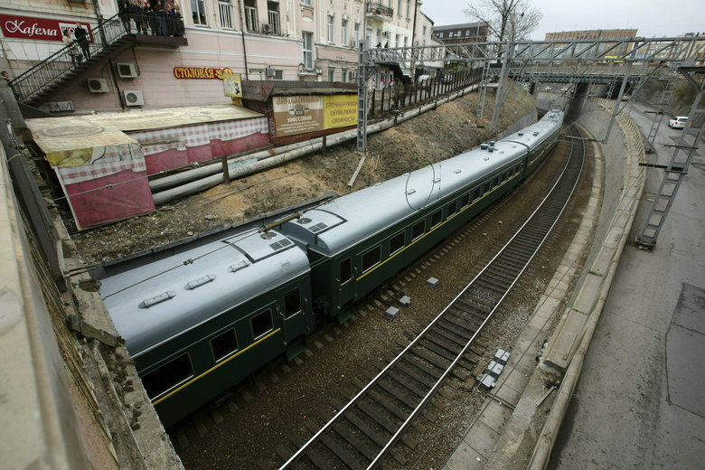 In this April 24, 2019, file photo, a train carrying North Korean leader Kim Jong Un arrives for a planned meeting with President Vladimir Putin in Vladivostok, Russia. (AP Photo/Alexander Khitrov, File)