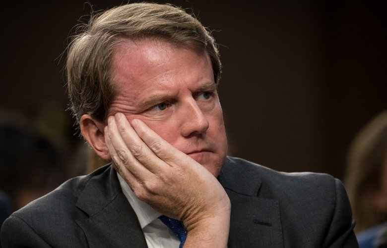 FILE — Don McGahn, then the White House counsel, attends the Senate Judiciary Committee's confirmation hearing for Judge Brett Kavanaugh, President Donald Trump's nominee for the U.S. Supreme Court, in Washington on Sept. 4, 2018. The White House stepped in on Tuesday, May 7, 2019, to stop McGahn from handing over documents subpoenaed by House investigators because President Donald Trump may want to assert executive privilege over them. (Erin Schaff/The New York Times) XNYT206 XNYT206