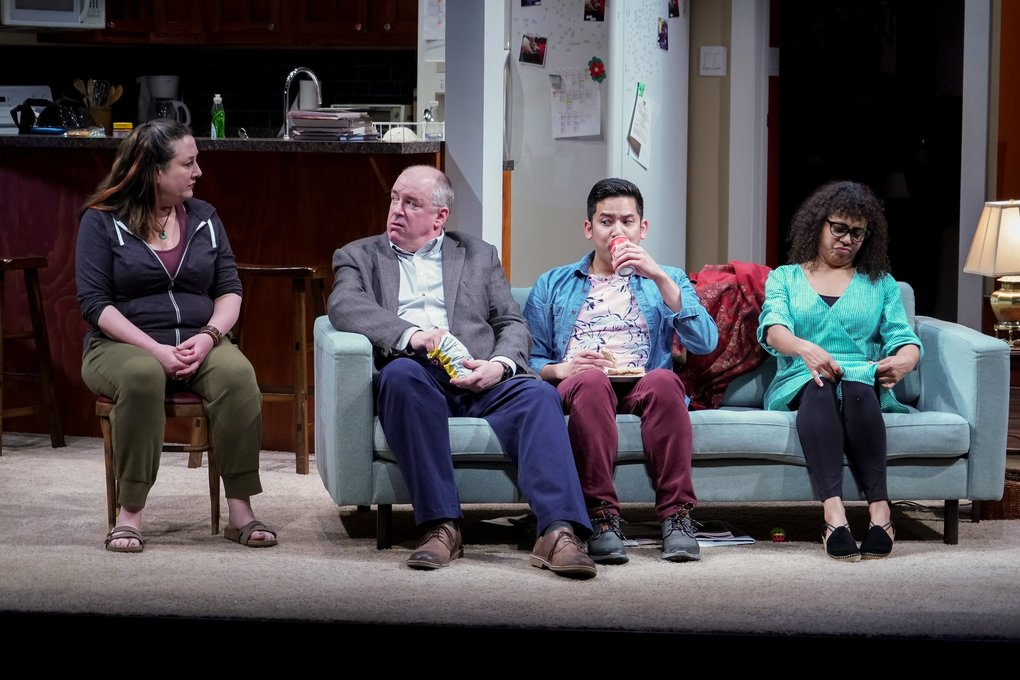 "Julie Briskman (Sugar), Charles Leggett (Letter Writer 1), Justin Huertas (Letter Writer 3), and Chantal DeGroat (Letter Writer 2) in Seattle Rep's production of ""Tiny Beautiful Things."" (Alan Alabastro)"