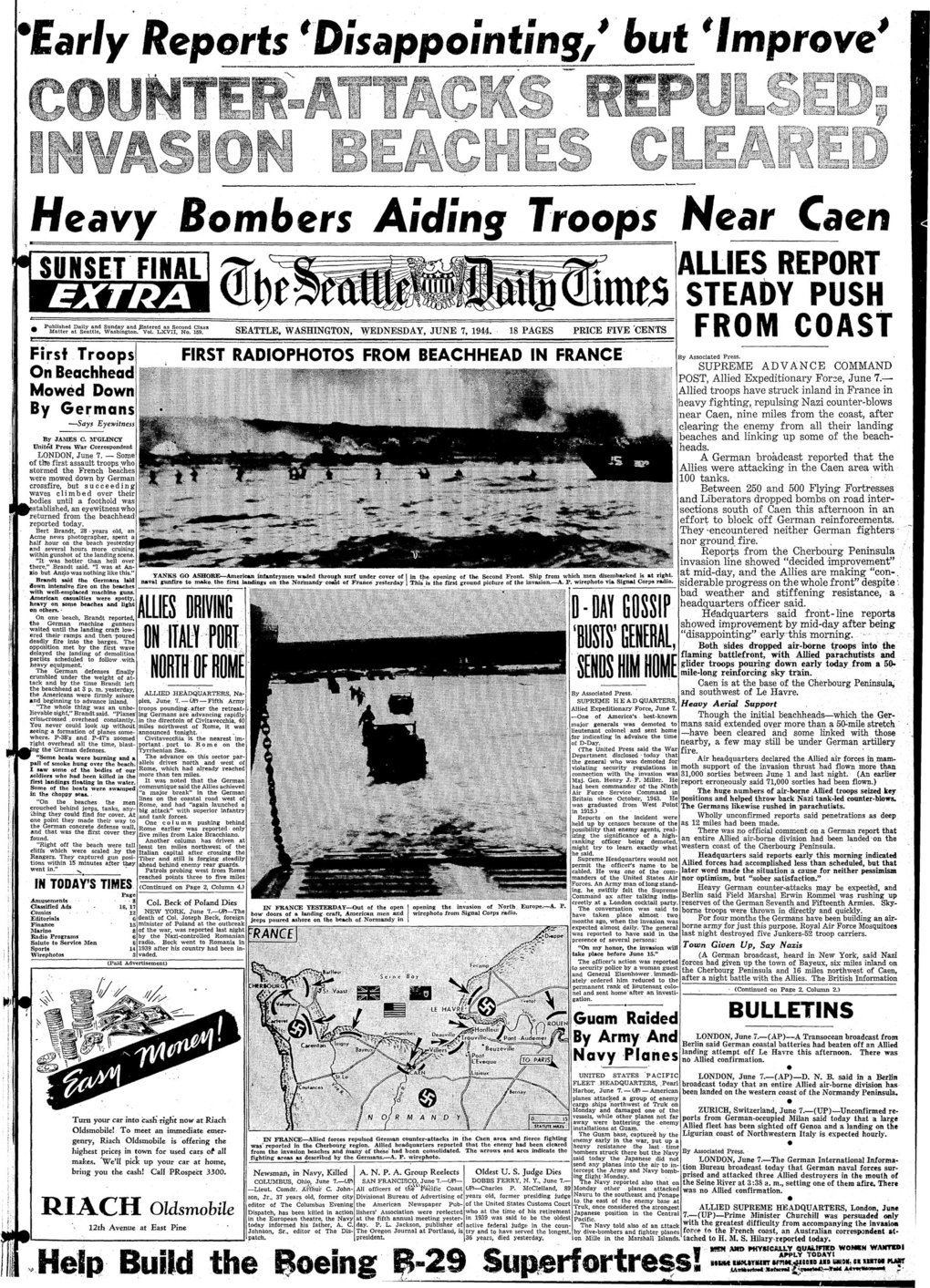 Front page of the Seattle Times from June 7, 1944, covering D-Day invasion of Normandy during WWII.  ( / )